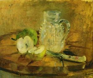Берта Моризо. Натюрморт с разрезанным яблоком