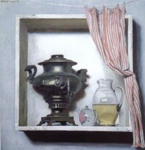 Г. Коржев. Самовар в белом ящике. 1986