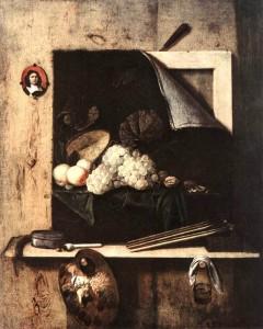 Корнелиус Гийсбрехтс, натюрморт с автопортретом, 1663 г.