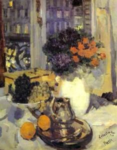 Константин Коровин. Гвоздики и фиалки в белой вазе. 1912 г.
