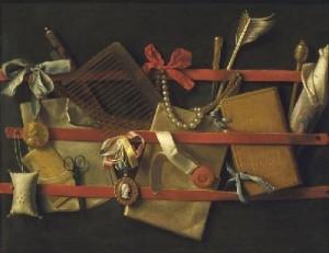 Самюэл ван Хогстратен. Дверца шкафа с туалетными принадлежностями 1655
