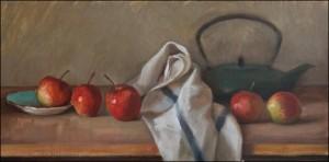 Джулиан Мерроу-Смитт. Натюрморт с яблоками и чайником