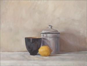 Чашка, лимон и банка с кофе