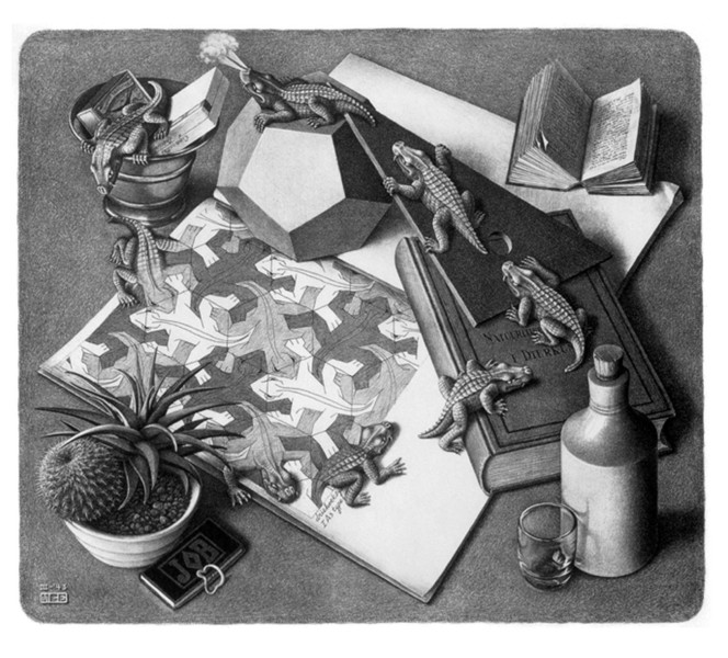 Морис Эшер. Натюрморт с рептилиями. Литография, 1943 г.