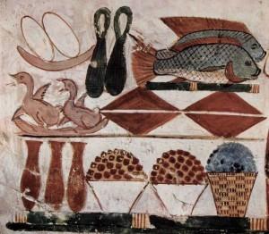 Гробница Менны, писца ведомства пашен фараона. Жертвенные дары. Около 1422-1411 до нашей эры. Стенная роспись Фивы. Гробница Мены.