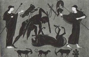 Геракл со львом. Чернофигурная вазовая живопись.