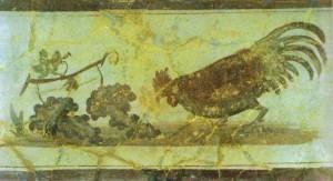 Петух, клюющий виноград. Настенная роспись в Геркулануме, I век н.э.