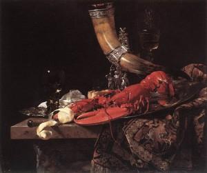 Виллем Кальф. Натюрморт с рогом, раком и стаканами, около 1653 г.