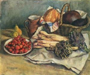 Зинаида Серебрякова. Натюрморт со спаржей и земляникой, 1932
