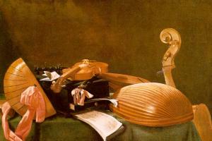 Эваристо Баскенис. Натюрморт с музыкальными инструментами.