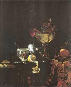 Виллем Кальф. Натюрморт с наутилусом и китайской чашей.