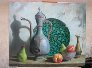 Сабит Нуримов. Натюрморт с зеленой тарелкой..