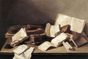 Ян Давидс де Хем. Натюрморт с книгами. 1628, дерево, масло, 36х46 см. Гаага, Морицхейс
