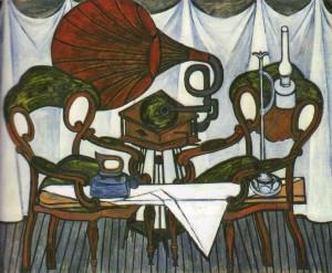 Б.А. Мессерер. Композиция со стульями и керосиновой лампой. 1974-1980, х.,м.,