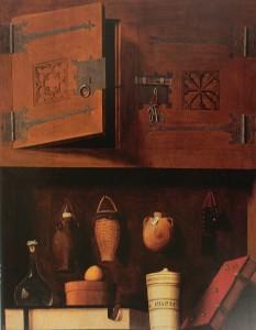 Шкаф с сосудами и книгами. Мастер из северной Германии. 1535-40, масло, дерево, 106х81 см, Музей Унтерлинден, Кольмар, Франция