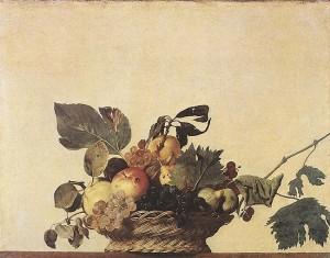 Караваджо. Корзина с фруктами. 1597 г. х.,м., 31 x 47 см Pinacoteca Ambrosiana, Milan