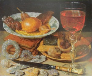 Georg Flegel. Meal with fruit and sweetmeats, oil on wood, 19.8x 2.3, Frankfurt am Main, Stadel Museum.
