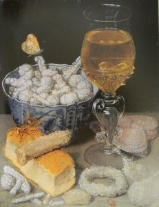 G.Flegel. meal with bread and seetmeats, oil on wood, 21.9x17.1 Frankfurt am Main, Stadel Museum.