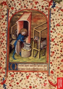 St. Eligius 15th century illumination From f. 17 of British Library MS. Egerton 859