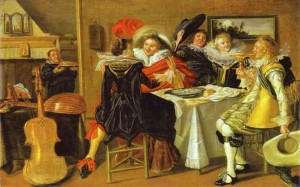 Dirck Hals. Merry Company at Table. 1620s. Oil on oak panel, 27.6 x 43.5 cm. Gemäldegalerie, Berlin, Germany.