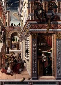Благовещение со святым Эмидием ,1486, 207 x 147, холст, масло, переведена с дерева, Национальная галерея в Лондоне
