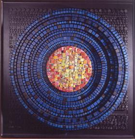Рождение солнца №12 150Х150 см, дерево, мозаика