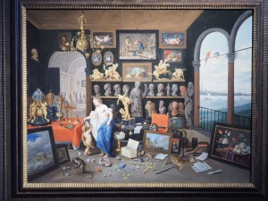 Ян ван Кессель, Антверпен 1626-1679. Аллегория зрения: кабинет коллекционера и вид на Антверпен