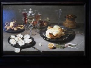 Osias Beert the Elder (1580-1624). Осиас Берт Старший. Натюрморт с устрицами, цыпленком и сухофруктами