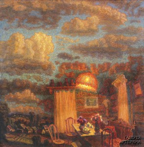 Орлов И.М. Вечерний интерьер с красным абажуром, 2000, холст, масло, 120х120
