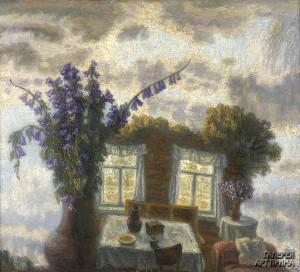 Орлов И.М.Пейзаж с букетом и интерьером, 1996, 100х113, холст, масло