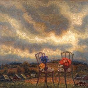 Орлов И.М. Валдайский пейзаж (Пейзаж с двумя стульями), 1998, 100х100, холст, масло